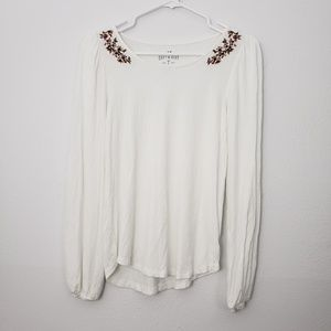 AEO Soft & Sexy Long Sleeve Floral Embroidered Top